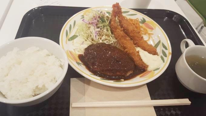 グリルモトヤマ イオンモール茨木店ハンバーグエビフライ~茨木市禁煙ランチ