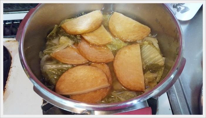 白菜とまる天の簡単煮【スピードレシピ】