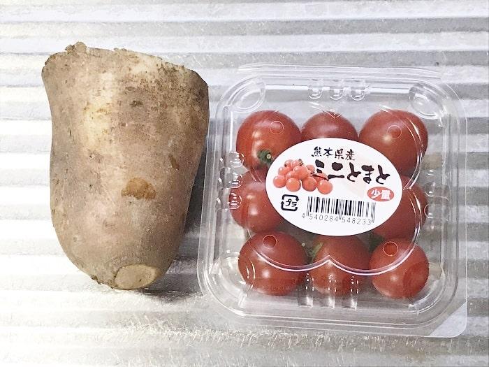 「ヤーコンの甘酢和え」材料